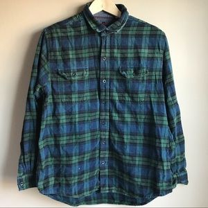 Woolrich Men's Large Plaid Green and Black Flannel